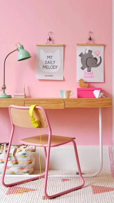 工作台 粉色 少女 房间 装饰