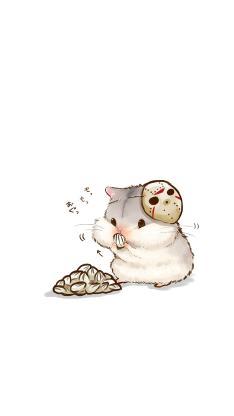 仓鼠 啃食 坚果 动物 宠物 手绘