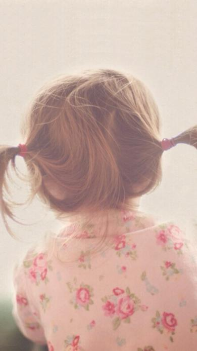 小辫子 小女孩 萌宝 可爱 背影 粉色 碎花