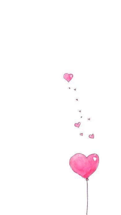 爱情 爱心 粉色 气球 手绘