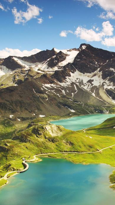 雪山 湖泊 大自然 蓝天白云 草坪