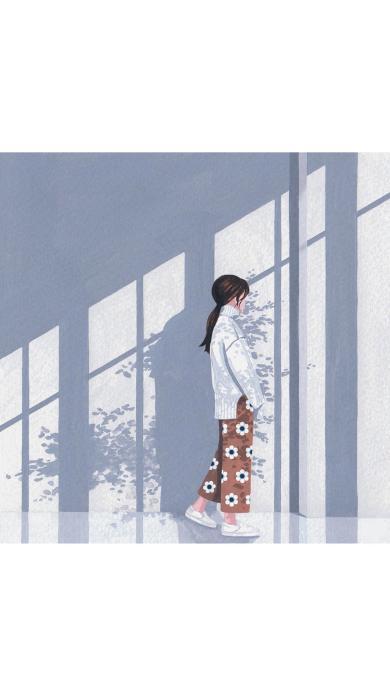 手绘女孩 白色毛衣 碎花裤