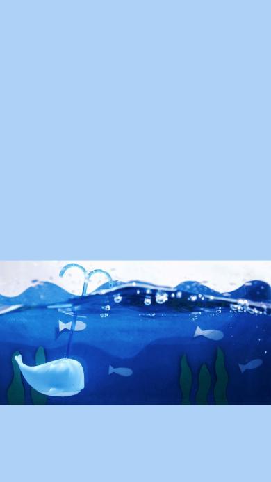创意手绘 海洋 小鲸鱼喷水