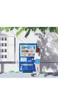 手绘插画 夏日小清新 女孩背影 饮品售卖机