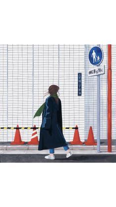 手绘 日式 街景 女孩背影