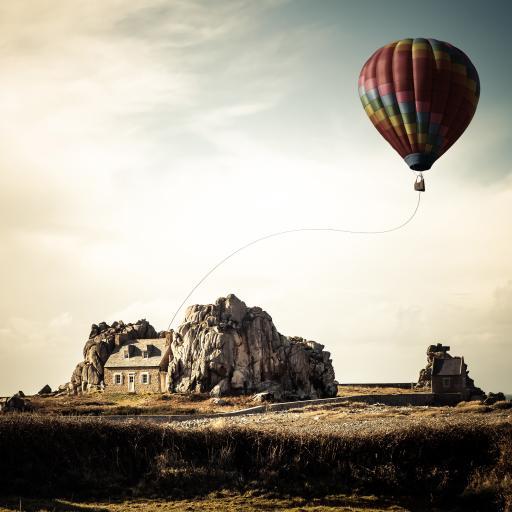 热气球 风景 草原 天空