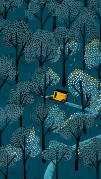森林 树木 插画 车子 绿色 道路