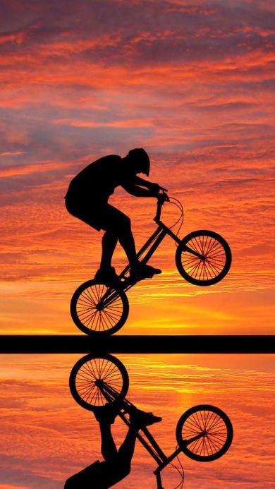 单车 创意 夕阳 落日