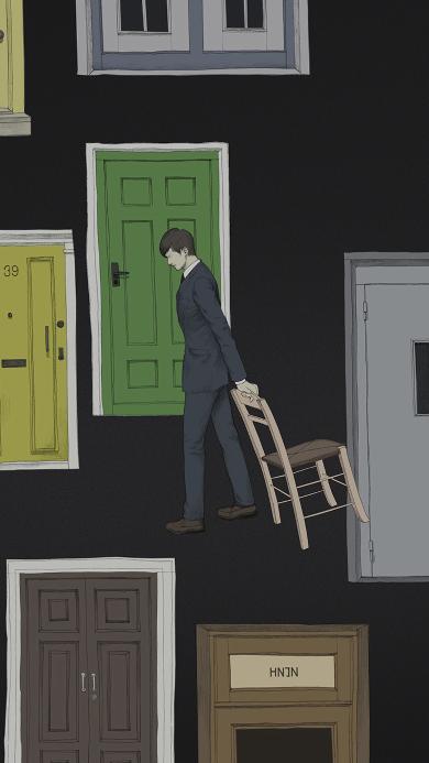 迷茫 职场 男 椅子 门 插画