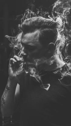 香烟 吸烟 欧美 男 黑白