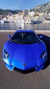 超酷蓝色兰博基尼跑车