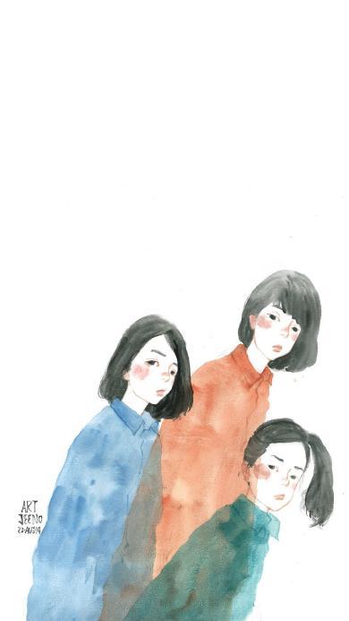 白色背景 手绘闺蜜壁纸