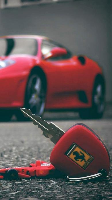 法拉利 红色 钥匙 马路