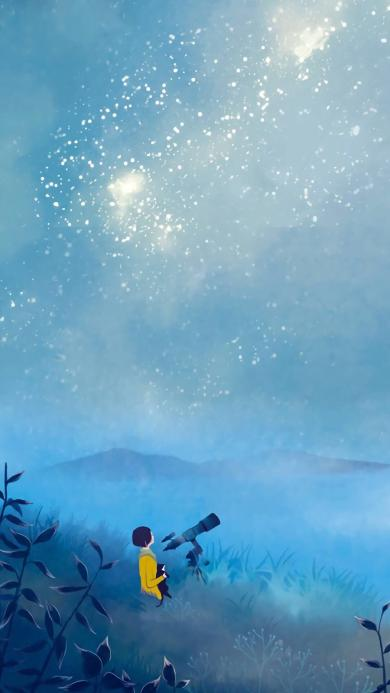 星空 望远镜 蓝色 插画 夜空