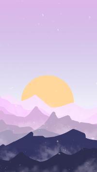 日出 紫色 太阳 山 渐变