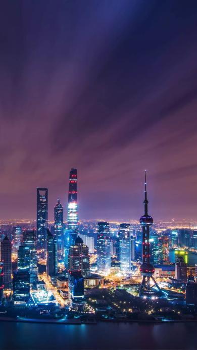 上海 外滩 东方明珠 城市 地标 建筑 夜景