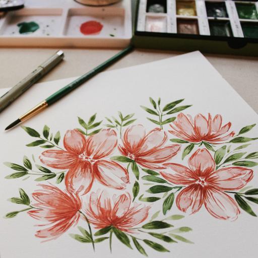 唯美手绘 鲜花 绿叶