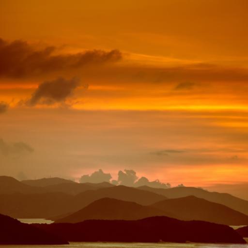 山峰 风景 夕阳 云彩