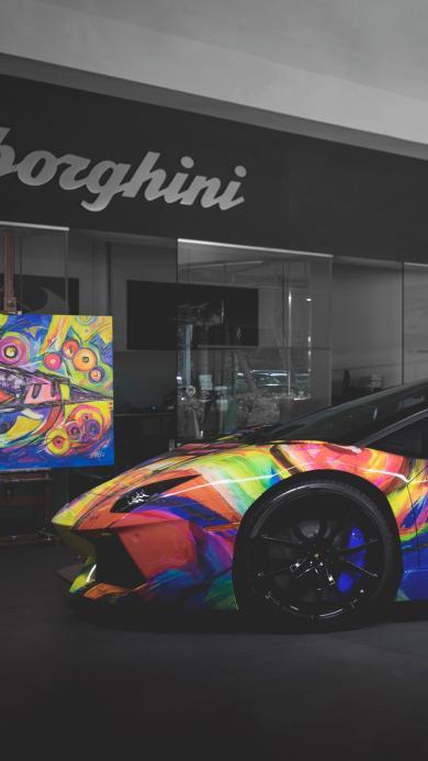 兰博基尼 彩色 个性 跑车 豪车 速度