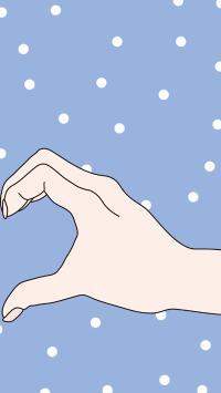 情侣 手势 动作 爱心 男孩 蓝色