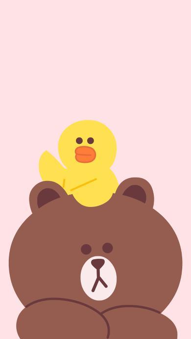 line 卡通 布朗熊 萨莉鸡 可爱 粉色