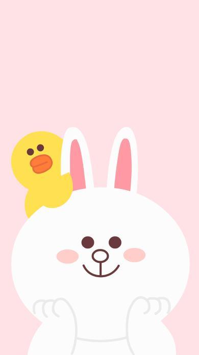 line 卡通 可妮兔 萨莉鸡 可爱 粉色