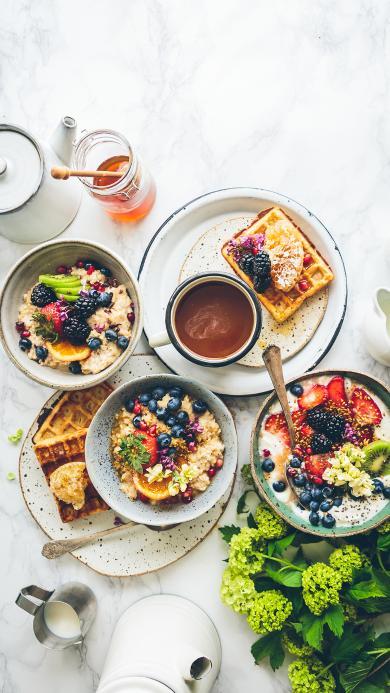 草莓 蓝莓 华夫饼 餐点 营养 健康