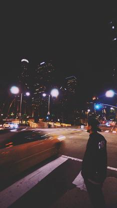 街景 男生 风景 夜空