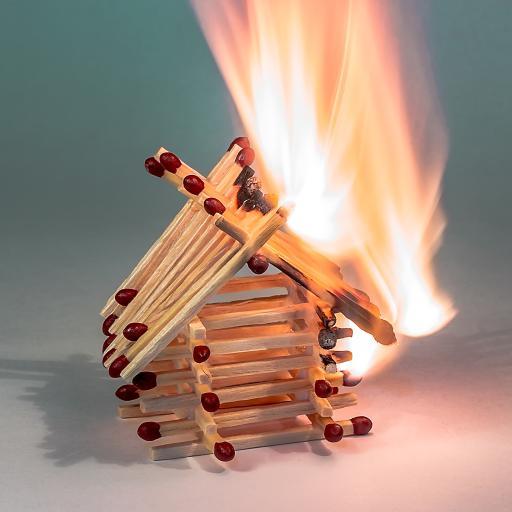 火柴 层叠 燃烧 火焰