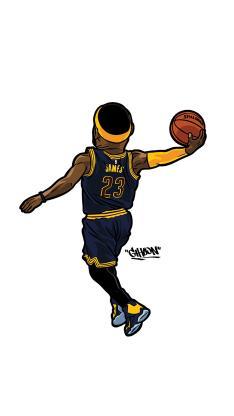 詹姆斯 篮球 运动员 扣篮 手绘 卡通