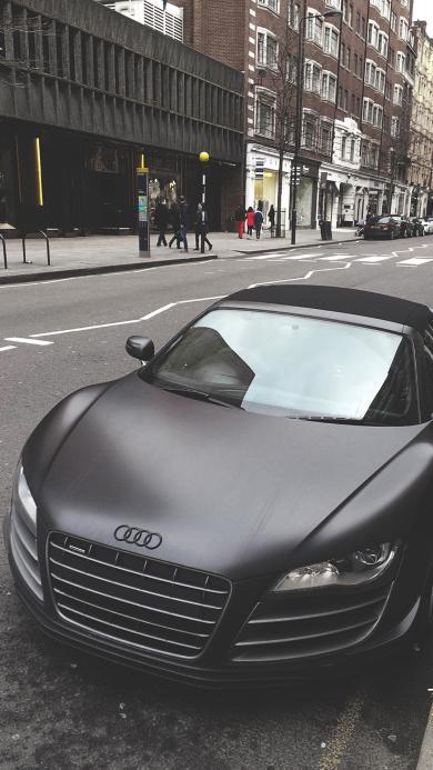 奥迪 跑车 街道 速度 黑色