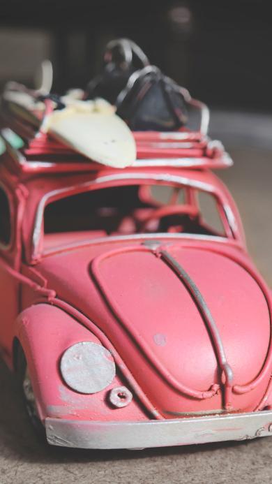 粉色玩具 交通 甲壳虫车 特写