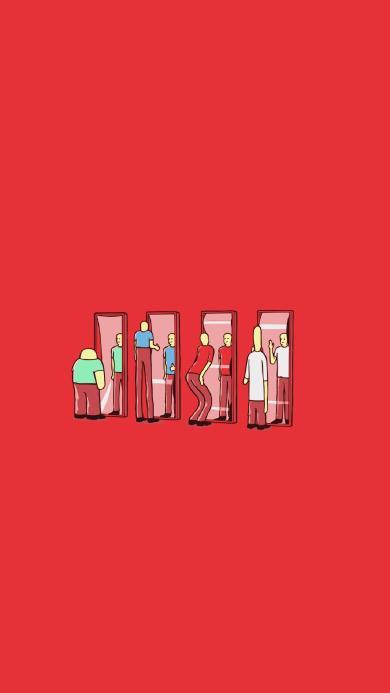 插画 创意 照镜子 红色