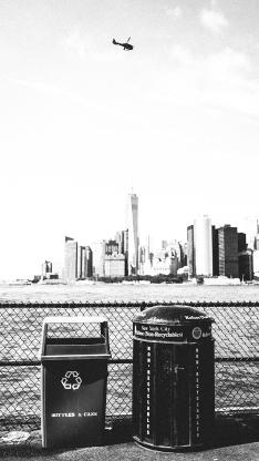城市 风景 垃圾桶 飞机