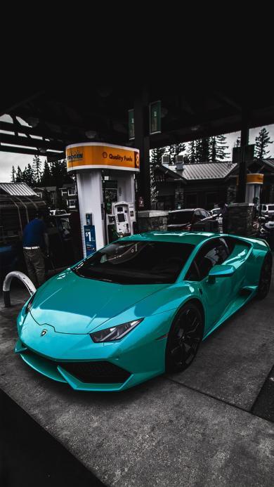 兰博基尼 蓝绿色 加油站 炫酷 超级跑车