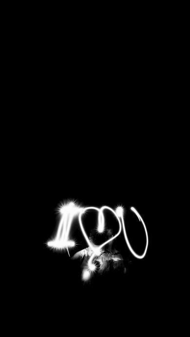 创意 字母 I love u 黑白