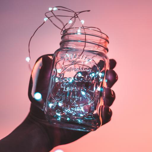 串灯 发光 玻璃瓶 唯美 粉色 浪漫