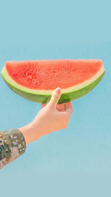 西瓜 夏日 解暑 蓝天 水果