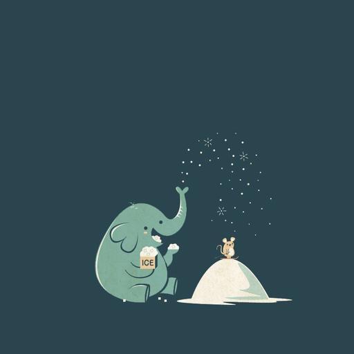 卡通 手绘 大象 插画