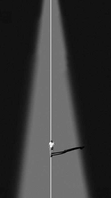 黑白创意壁纸 孤独 行走