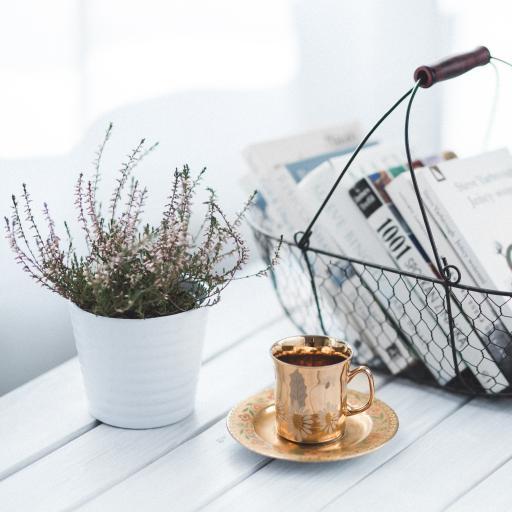 白色木板 小盆栽 鲜花 书本 咖啡