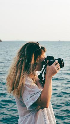 拍摄 单反 侧身 大海 风景