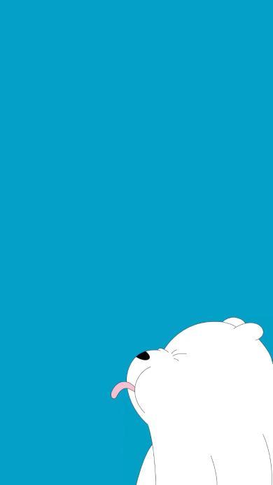 咱们裸熊 北极熊 蓝白 吐舌 可爱 卡通