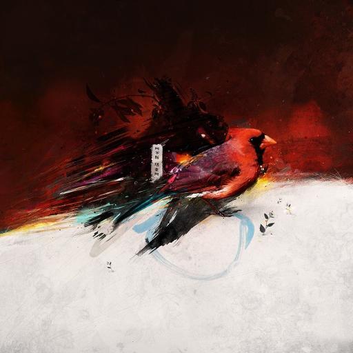 小鸟 手绘 绘画 油画