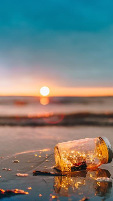 落日 风景 海岸 漂流瓶 玻璃瓶