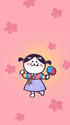 后田花子 和服 小女孩 可爱 小辫子 粉色 樱花