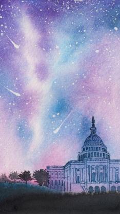 绘画 白宫 星空 炫彩