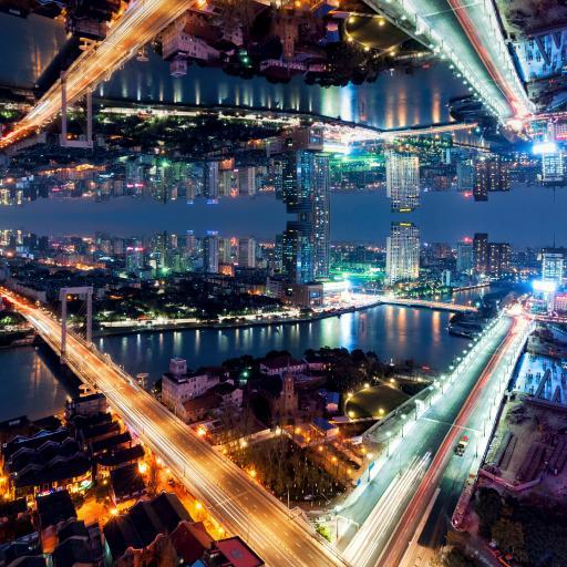 繁华城市 夜景 车水马龙 灯彩霓虹