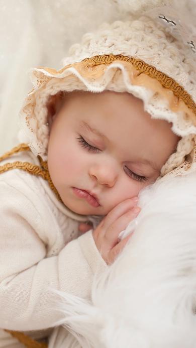 睡梦 小女孩 宝宝 萌 娃娃 可爱