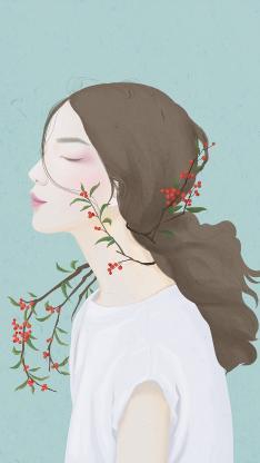 手绘插画 女孩侧脸 相思红豆植物